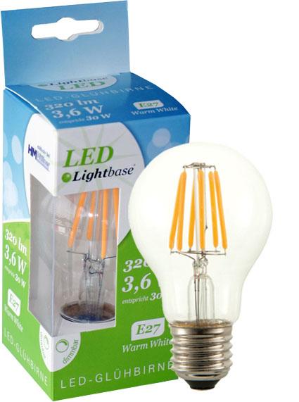 Dekorativna LED žarnica Lightbase, filament patent, standardne oblike, E27, 3,2W, regulacija svetlobe